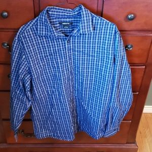 Blue plaid long sleeved shirt